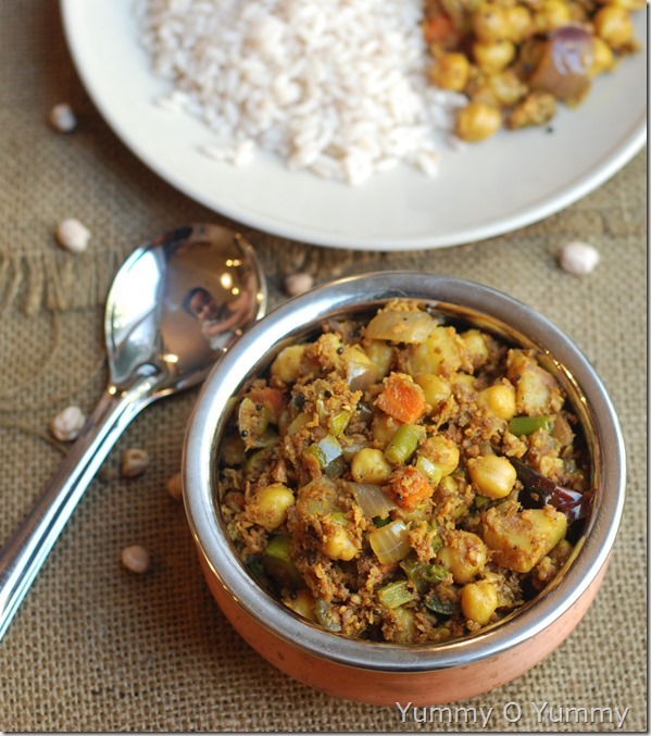 White chana and veggie ularthu
