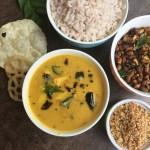 Kerala Lunch Menu # 2 – Van payar Ularthiyathu, Chakka kuru Manga Curry and Unakka Chemmeen Chathachathu (With Video)