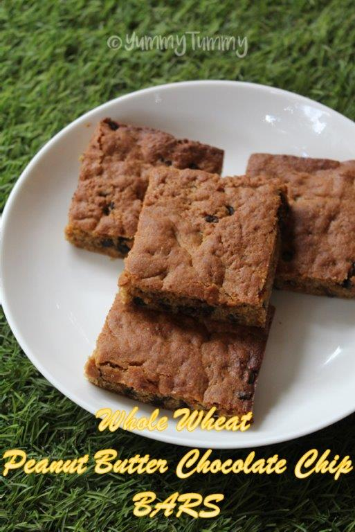 Whole Wheat Peanut Chocolate Chip Bars Recipe