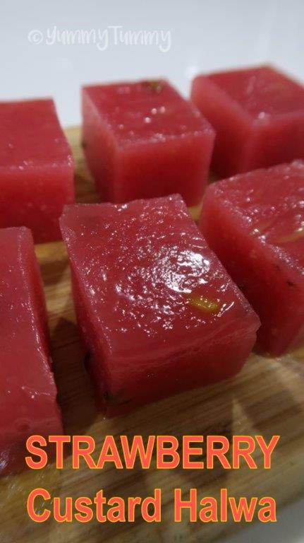 Strawberry Custard Halwa Recipe