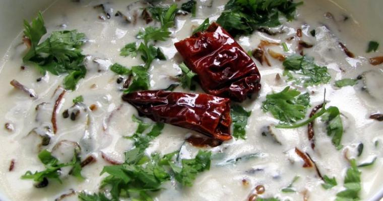 Bhindi Raita / Fried Okra in Yoghurt