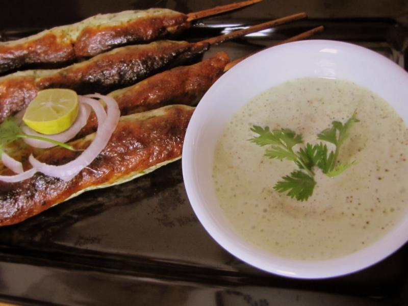 Chicken Seekh Kebabs with Mint & Coriander dip