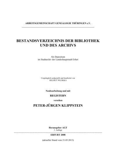 Bestandsverzeichnis Der Bibliothek Und Des Archivs