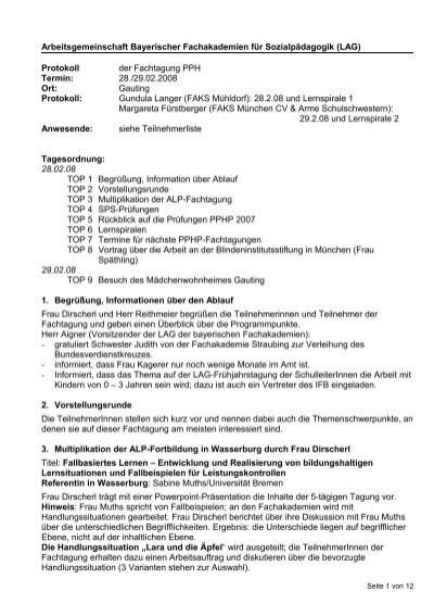 Protokoll A Ber Die Arbeitsgemeinschaft Bayerischer Fachakademien