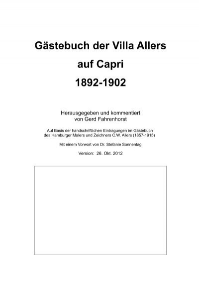 Gastebuch Der Villa Allers Auf Capri 1892 1902 Cw Allers