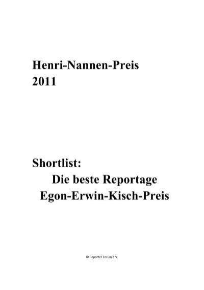 Henri Nannen Preis 2011 Shortlist Die Beste Reportage Egon Erwin