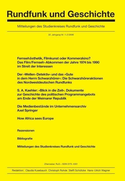 2006 32 Jahrgang Pdf Studienkreis Rundfunk Und Geschichte