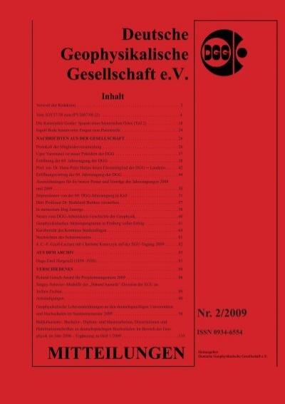 Dgg Mitteilungen Deutsche Geophysikalische Gesellschaft