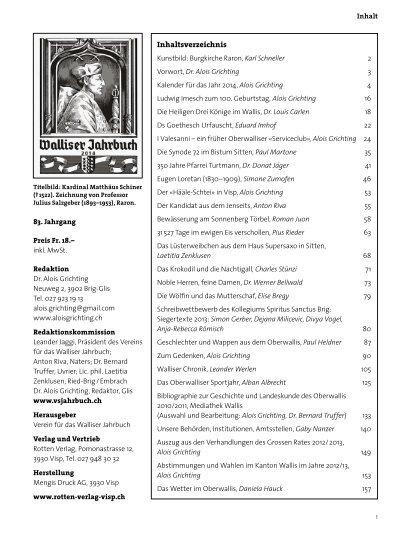 Jahrbuch 2014 Inhalt