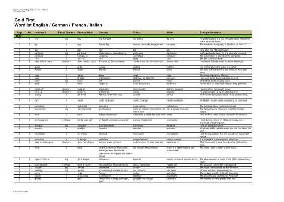 Gold First Wordlist English German French Italian Pearson