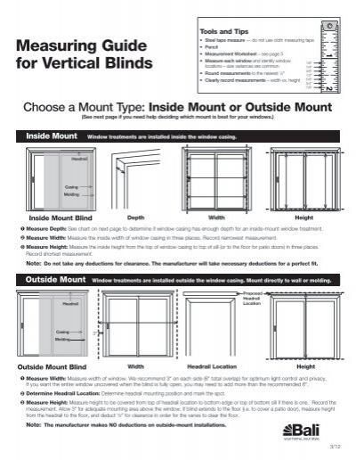 measuring guide for vertical blinds