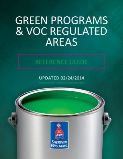Green Programs Voc Regulated Areas Sherwin Williams