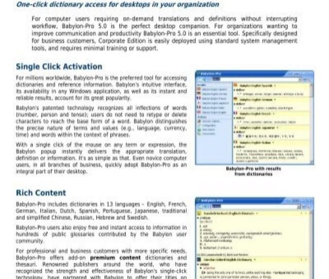 Babylon Pro 5 0 Corporate Edition Single Click Activation Rich