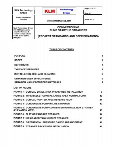 706 Engineering Standards For Pump Start Up Strainer Specifications