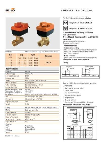 fru24rb fan coil valves  belimo actuators shanghai