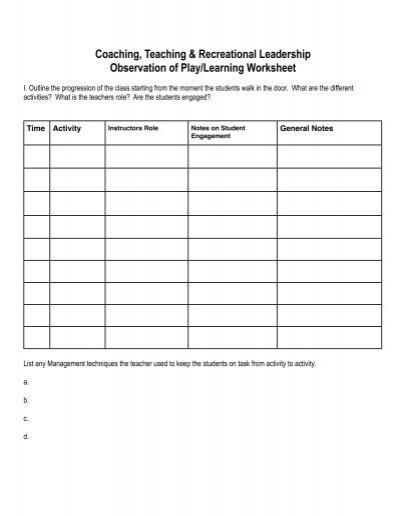 Ctrl Class Observation Worksheet