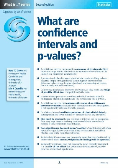 What Are Confidence Intervals And P Values Medical Sciences