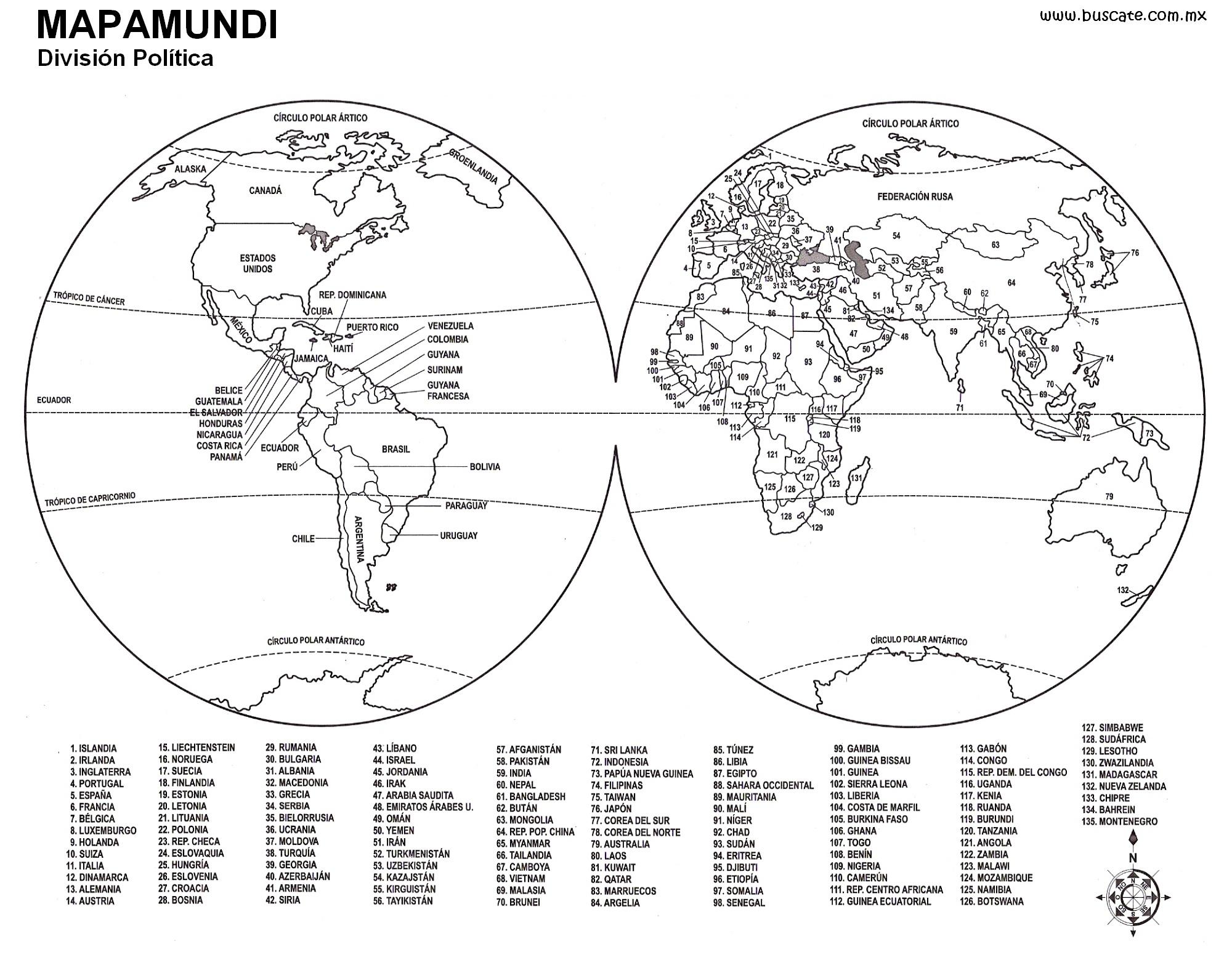 Mapa Del Mundo Para Colorear Con Nombres gallery