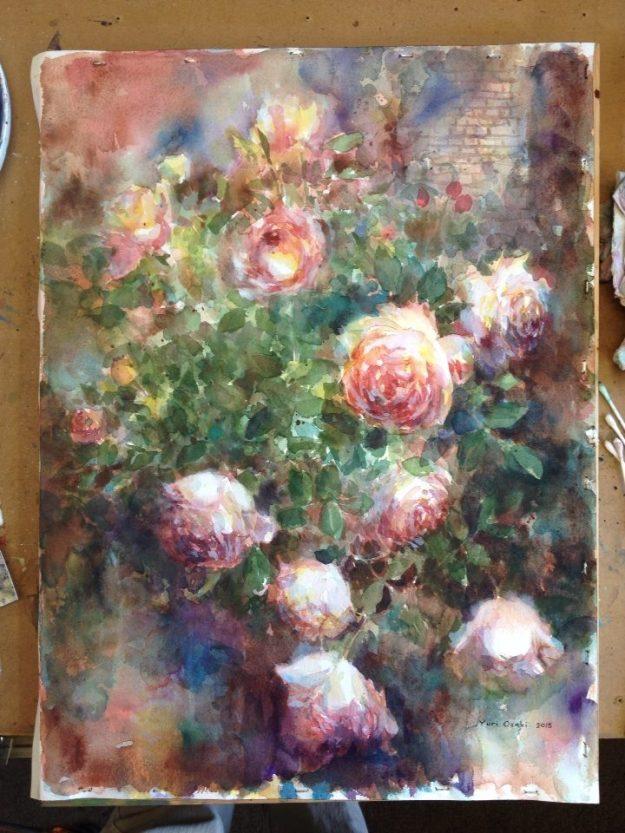 The Weeden House museum and Garden, Huntsville, AL , Garden, rose, watercolor, original art, spring,