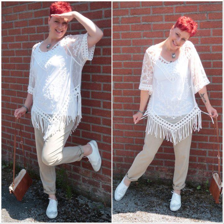 Cotton Club, fashion, damesmode, 50 plus, witte, tuniek, kant, katoen, yustsome