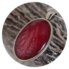 Zilveren hanger met ovale steen waarin rode veer verwerkt is. 7,50