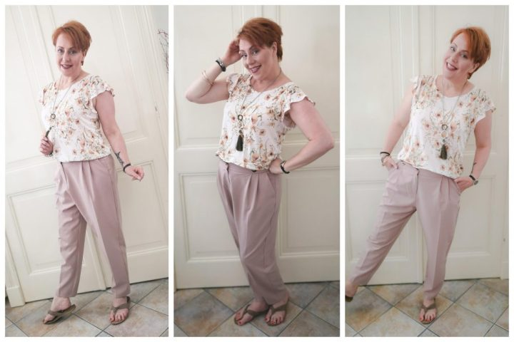 Roze, broek, high, waist, Primark, bloemen, shirt, hennes en Maurits, henm, fashion, mode, blog, beautysome