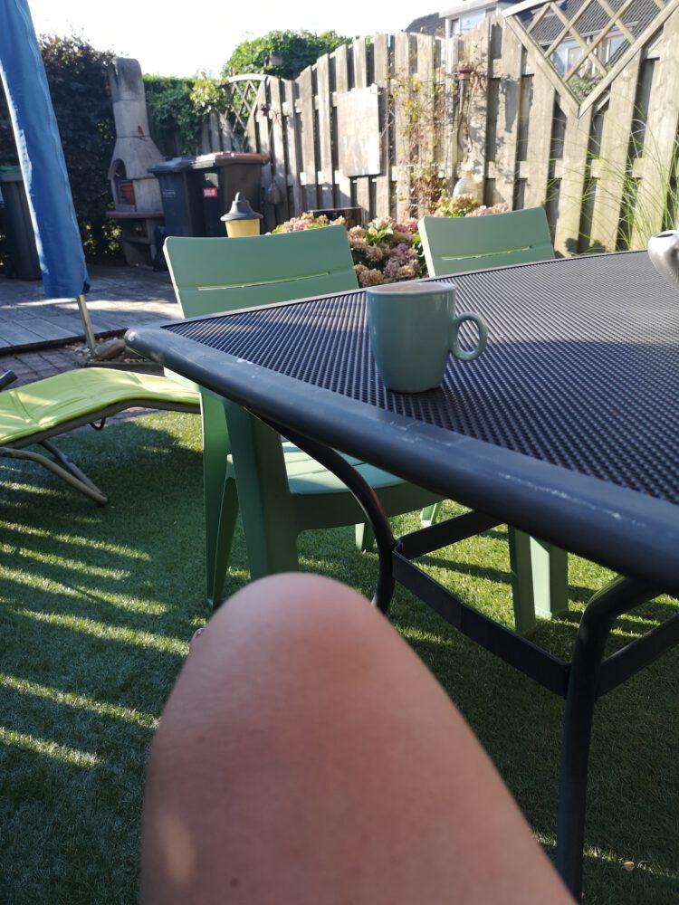 Koffie, tuin, buiten, duiven