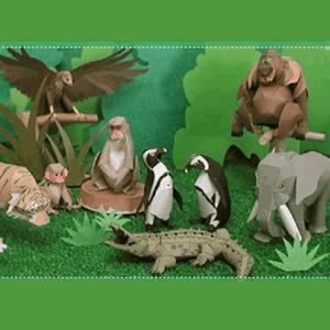 動物園をペーパークラフトで