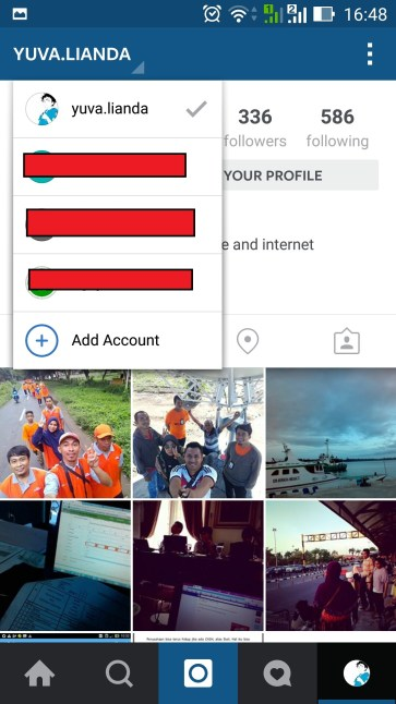 Tampilan Multiple Account Instagram