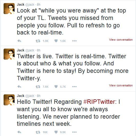 Tanggapan Jack Dorsey (@jack), Founder Twitter terkait ramainya hashtag #RipTwitter