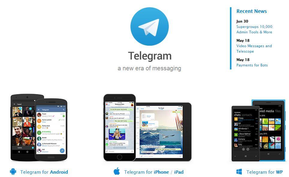 halaman depan telegram