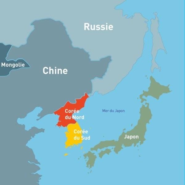 Carte: la Corée-du-Sud et ses voisins