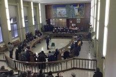 Il Consiglio Comunale di Adrano riunito per discutere si sicurezza alla presenza di Nello Musumeci