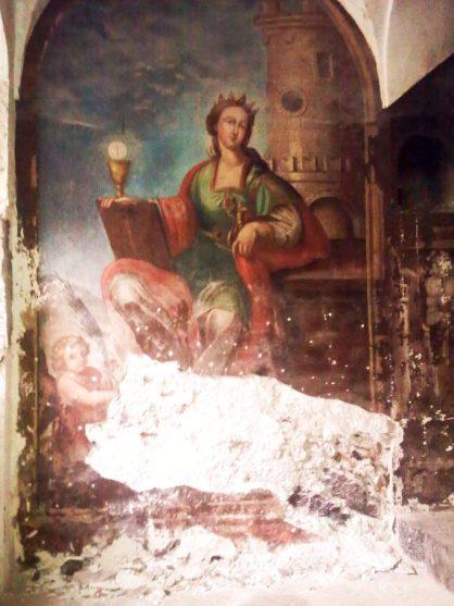 il dipinto di 'Santa Barbara' nelle scale del convento
