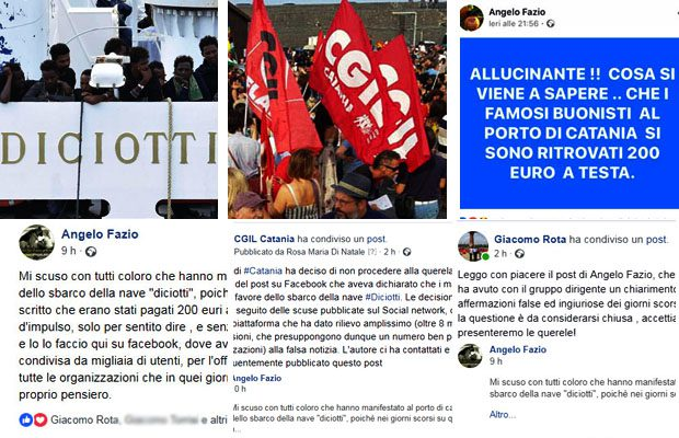 """Fake sulla """"Diciotti"""". Angelo Fazio si scusa ufficialmente, Cgil di Catania non presenterà querela"""