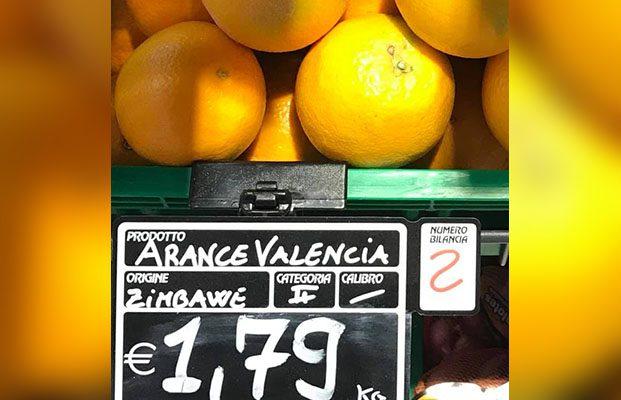 Arance dello Zimbabwe nei supermercati di Catania