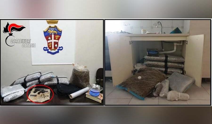 Paternò. Sequestrati 30 chili di marijuana, armi clandestine e munizioni