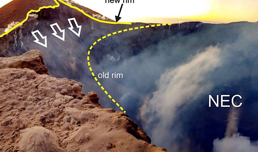 Etna. Crolla una parete interna del cratere di Nord-Est