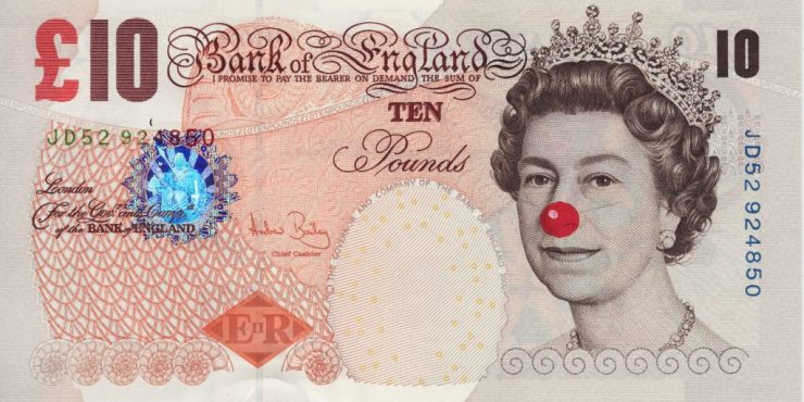 "Hans-Peter Feldmann, ""Ten Poundbill with red nose"""