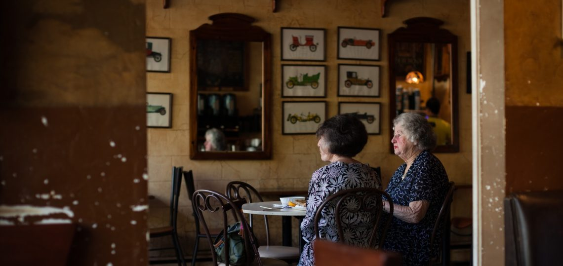 2 women in an old cafe
