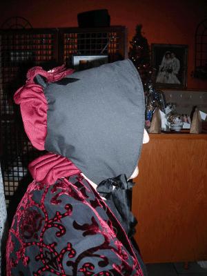 In Mrs Cratchit costume