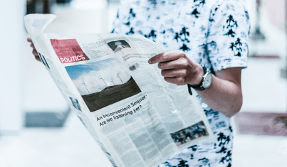 newspaper open to politics section