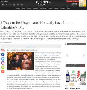Dr thomas featured on readers digest 8 ways to be singleand how to be single on valentines day ccuart Gallery