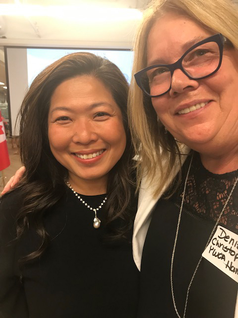 The Honourable Mary Ng and Denise Christopherson at funding announcement, August 22, 2019.
