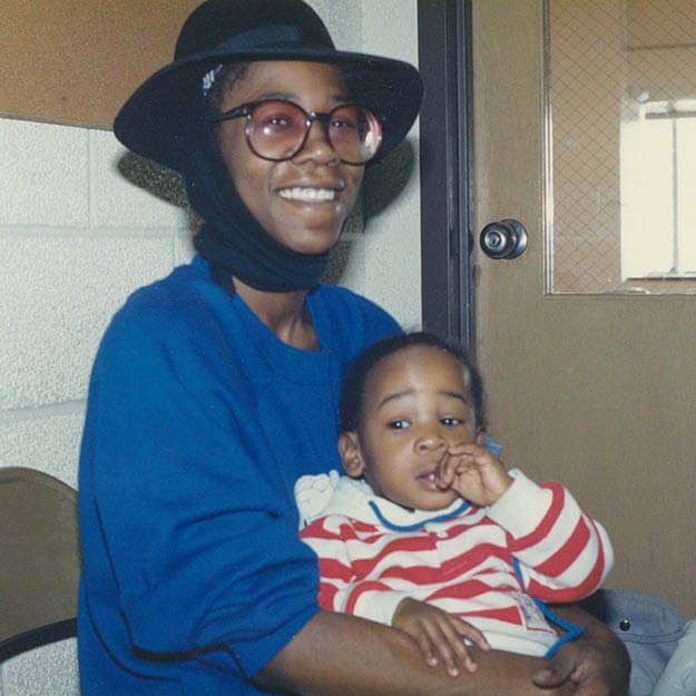 1980s photo of african american mother and her child