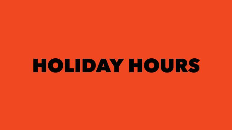 """Text reads """"Holiday Hours"""""""