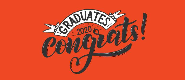 """Congrats 2020 Graduates"" script on a orange background"