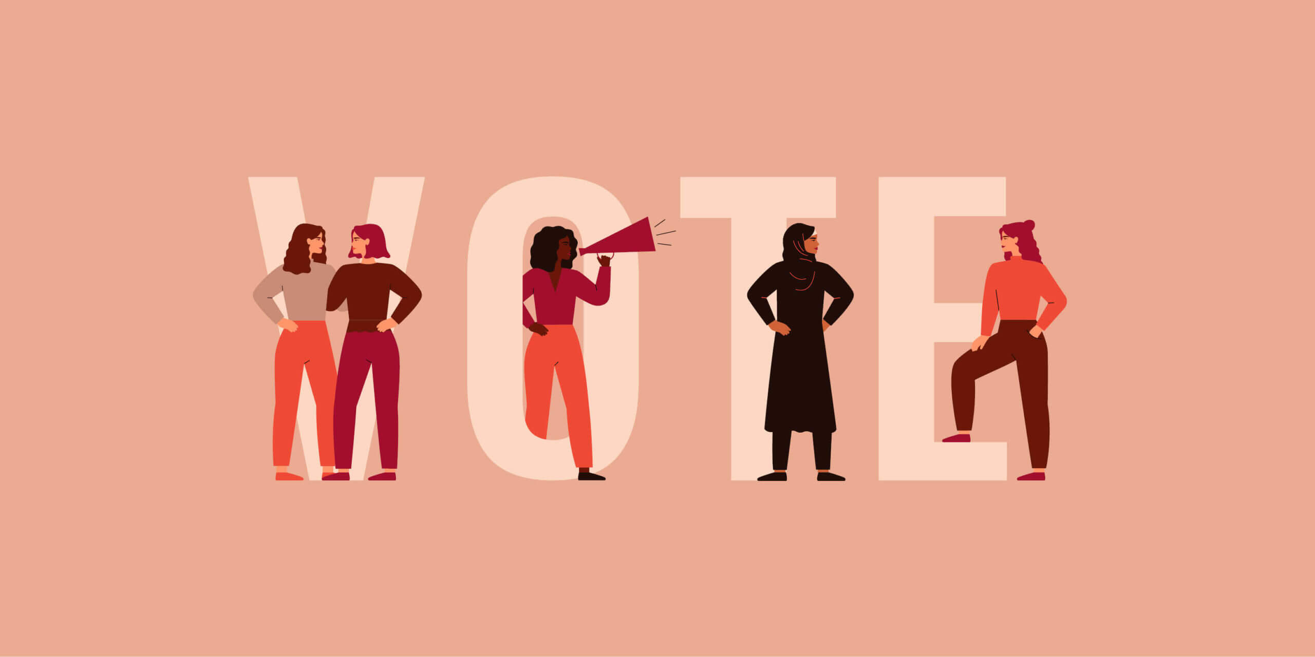 illustration of diverse women standing on the word vote