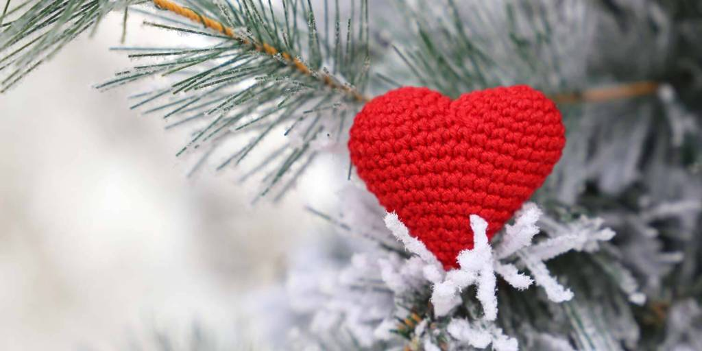Red knitted heart in the snow on fir branches