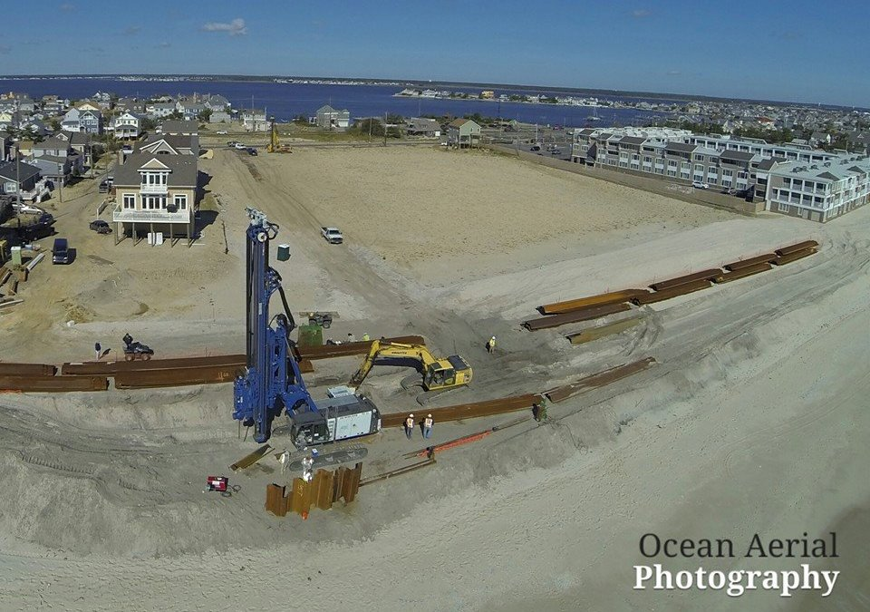 Normandy Beach Aerial of Steel Wall Install